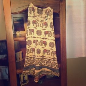 Elephant Print Knit Halter Tank Top